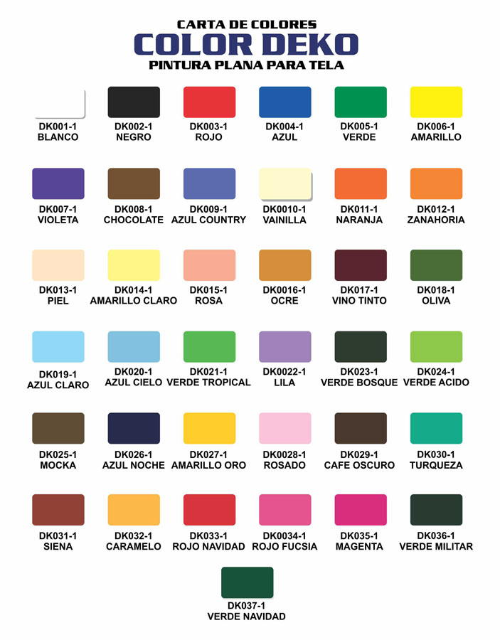 CARTA DE COLORES COLOR DEKO